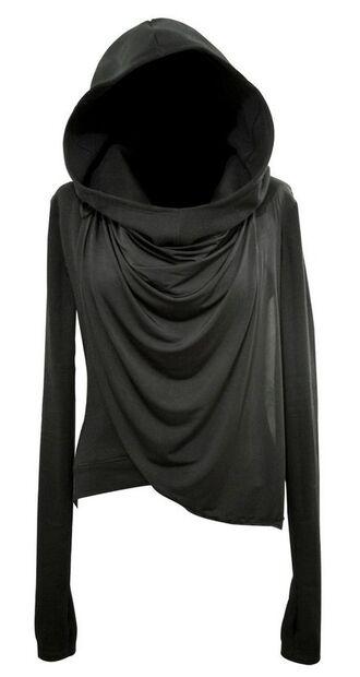 top long sleeves black hooded wrap sweater cowl sweater jacket hoodie