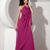 Unique Fuchsia Beaded Halter Long Back Evening Dress with Apron