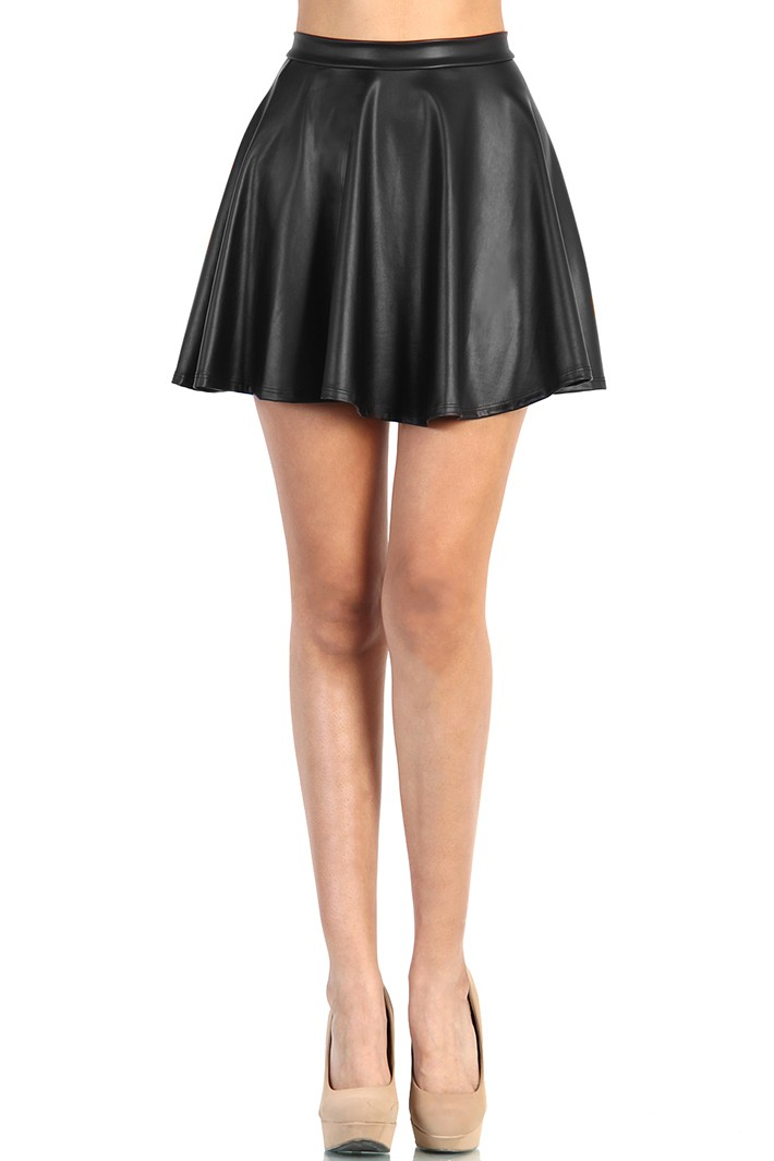 black faux leather skater skirt from
