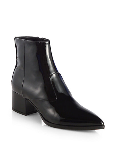 Miu Miu - Patent Leather Ankle Boots - Saks.com