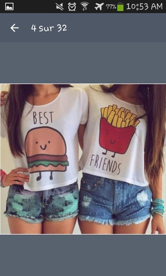 t-shirt bestfriend shirt shirt instagram cute cute shirt hamburger fries shorts girl friends