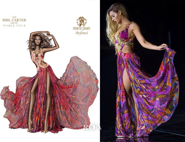 Beyonce Knowles In Roberto Cavalli - Mrs Carter World Tour - Red Carpet Fashion Awards