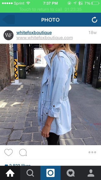 jacket blue blue jeans fall outfits button up drawstring hoodie long jacket light blue