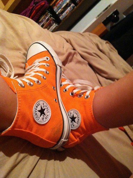 orange converse orange converse chuck taylor all stars all-stars neon neon orange  high top 5ad1dce92