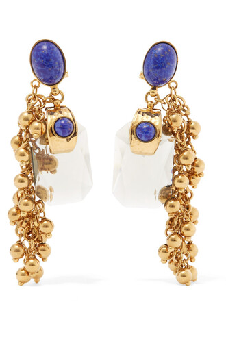embellished earrings gold blue jewels