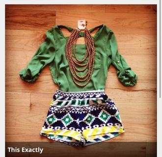 shorts tribal pattern shirt jewels spring young