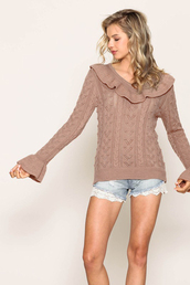 sweater,mocha,cable knit,ruffle,v neck,light mocha