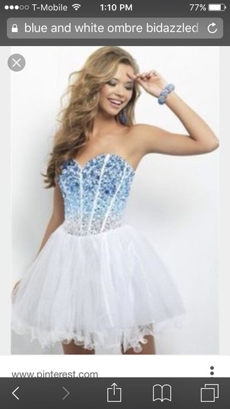 dress blue and white dress ombre dress diamonds short dress prom dress party dress corset dress