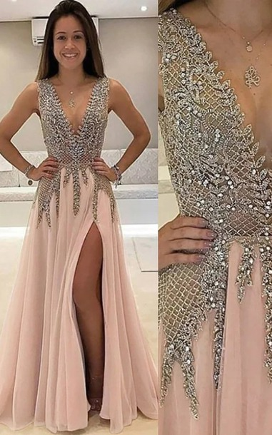 dress, prom dress, prom, jewels, long prom dress, prom gown, pink ...