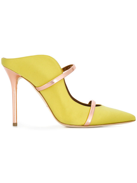MALONE SOULIERS women pumps leather yellow satin orange shoes