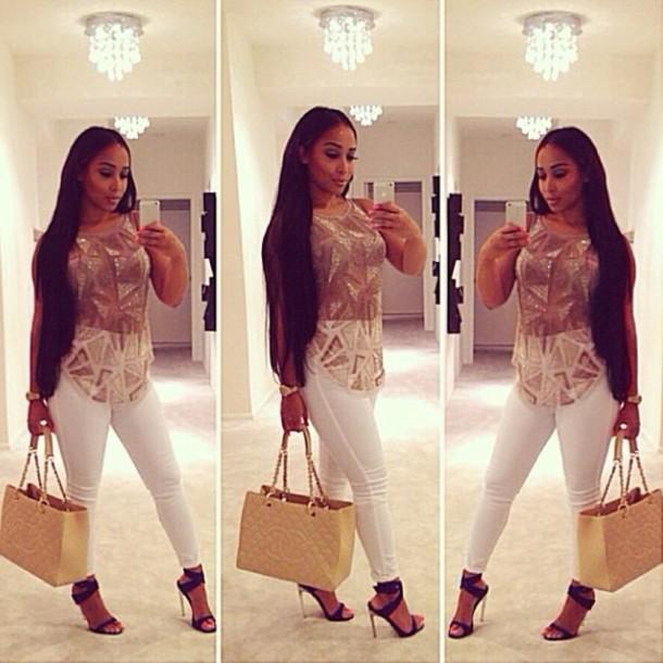 blouse pants sandals