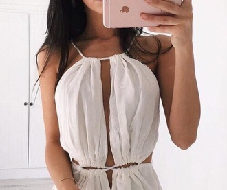 dress strappy off-white white cleavage deep plunge high neck