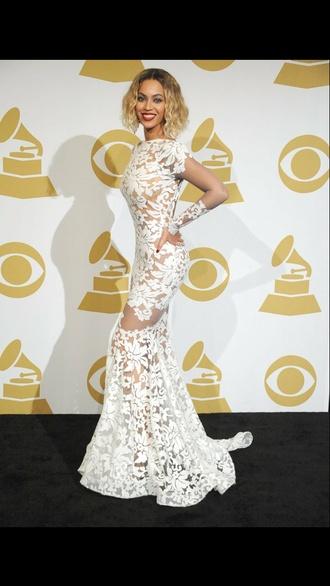 dress beyoncé red carpet mesh white lace dress lace see-through white