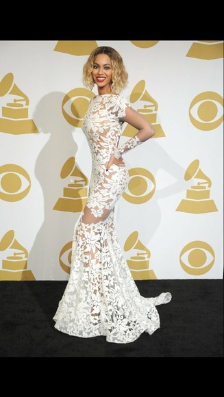 dress red carpet lace white beyoncé mesh white lace dress see-through