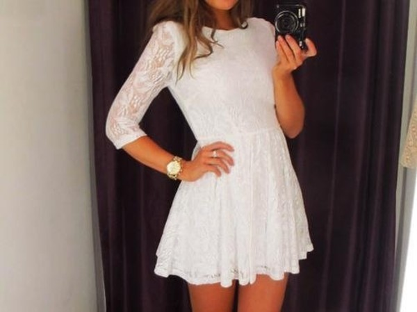 dress white dress lace dress short long sleeves princess cute dress white beautiful lace mini dress white lace shoes