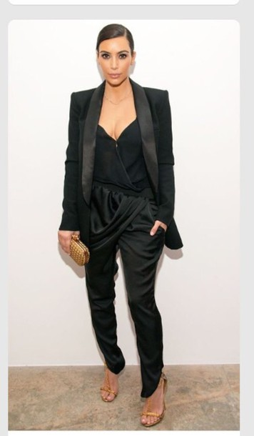 Pants: kim kardashian, silk, black - Wheretoget