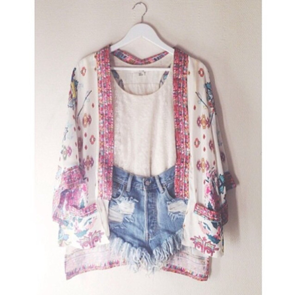 Jacket: kimono, cardigan, blouse, pattern, clothes, summer, cute ...