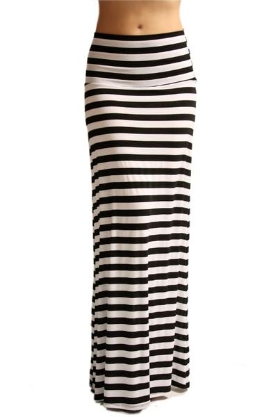 Striped Maxi Skirt - Mint & Pink