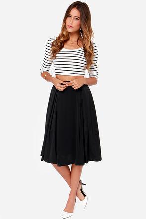 Galactic Glamour Black Midi Skirt