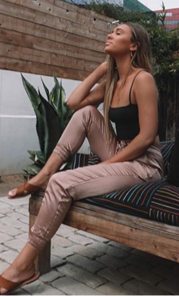 pants rose gold silk pants shani grimmond