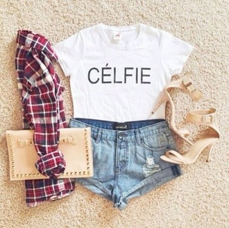white t-shirt denim shorts nude high heels sandals pouch shoes shorts top tank top blouse bag jacket shirt outfit celfie flannel shirt style