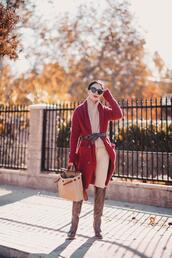 hallie daily,blogger,cardigan,coat,jeans,leggings,shoes,belt,bag,sweater,red cardigan,winter outfits