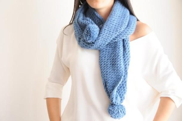 scarf handknitt scarves birthday handmade blue women fashion