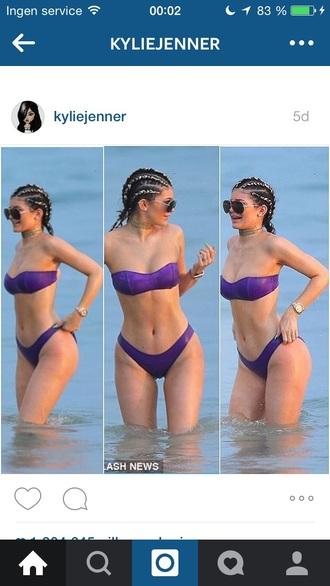 swimwear bikini purple bikini beach purple kylie jenner