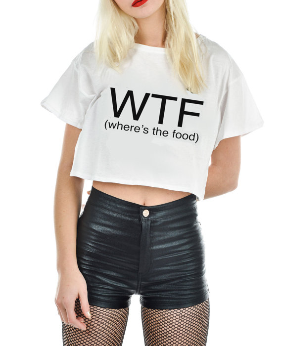 Wtf where's the food cropped tee. by sleepingbirds on etsy