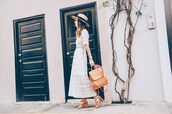 prosecco and plaid,blogger,dress,shoes,hat,jewels,white dress,summer dress,backpack,sandals,midi dress