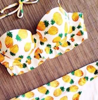 fruits pineapple print pineapple pineapple swimsuit bikini patterned bikini bottoms patterned swimwear swimwear floral swimwear floral bikini perfect white pineapple bikini vintage swimwear swimsuit pinapple vintage pinneapples yellow green black pattern bikini