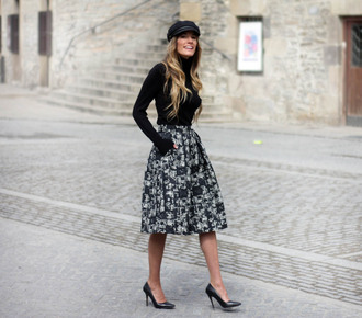 rebel attitude blogger fisherman cap midi skirt stilettos