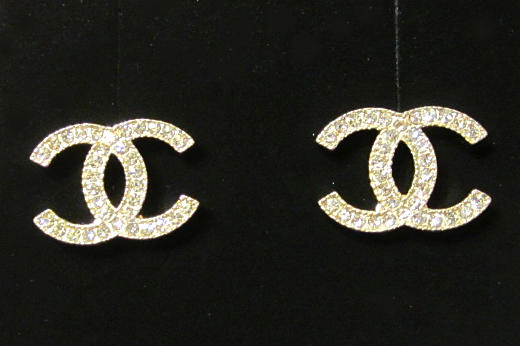 Chanel: 2014 chanel cc crystal earrings gold classic stud new authentic