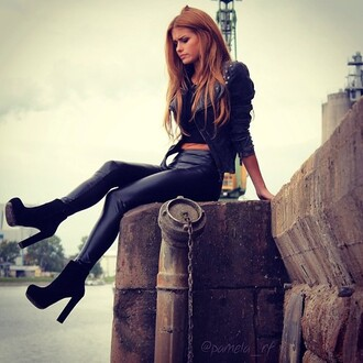 shoes black love high heels pants jacket black shoes high heels suede fashion style beauty fashion shopping boots chunky high heeled ankle boots chelsea boots fitness fit sexy blonde hair girl leather leggings