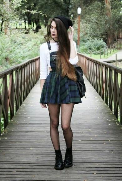 overalls grunge tartan dress skirt plaid skirt punk cool flannel plaid dark