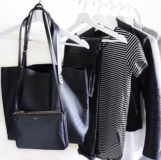 shirt jeans black dark strioes leather purse leather jacket striped top