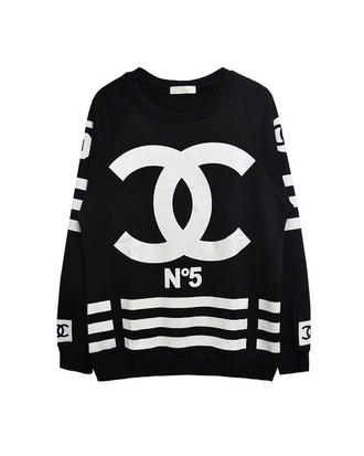 sweater chanel no. 5 pants flowers shirt chanel t-shirt coco chanel sweater chanel chanel n.5 jersey chanel top chanel sweater black chanel inspired no. 5 wolftyla for boys top black chanel cc sweater white black and white i4out look lookbook sweatshirt streetstyle coco no 5 femme