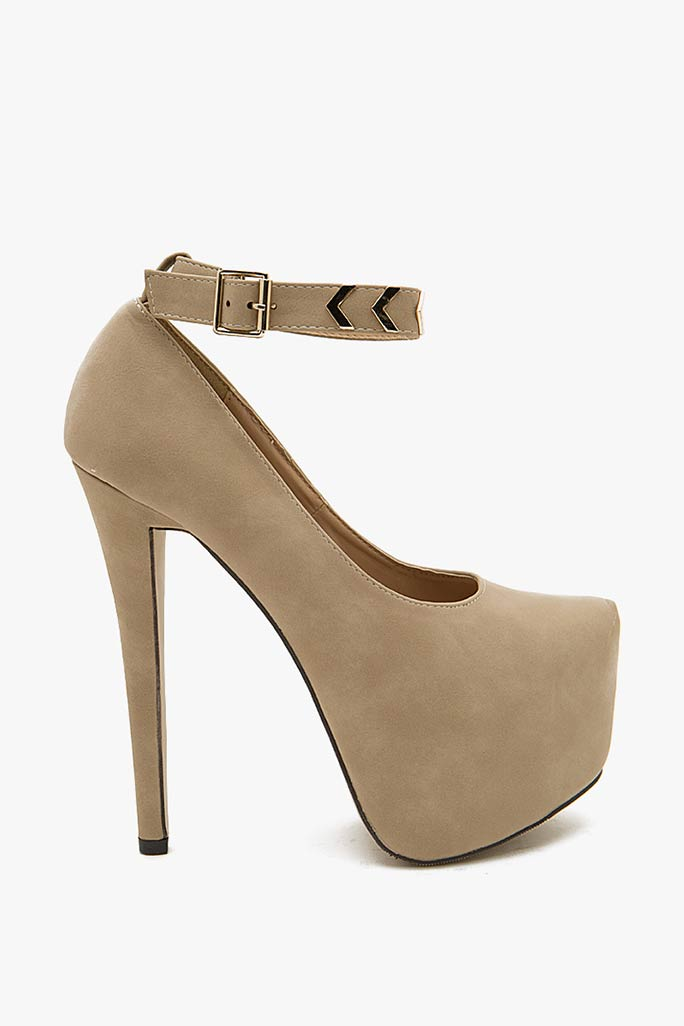 A'GACI Nelly 6 Gold Metal Arrow Trim Nubuck Ankle Strap - HEELS
