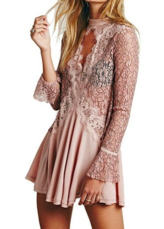 dress peach dress cream dress lace dress sheer mini dress pink dress