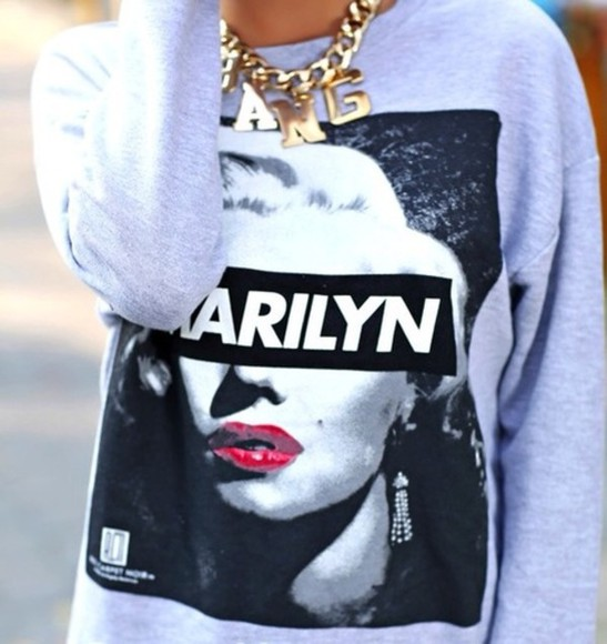 jeans marilyn monroe sweater t-shirt crewneck highwaisted shorts shorts studded shorts marilyn monroe sweater grey fashion india love india love westbrooks crop tops shirts prom dress skirts victoria's secret style instagram tumblr twitter high heels pants jogger leggings