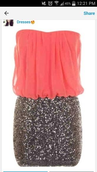 dress sparkles coral dress strapless dresses