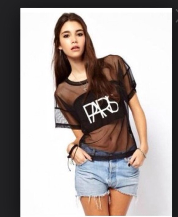 t-shirt sheer paris top paris mesh mesh top dope
