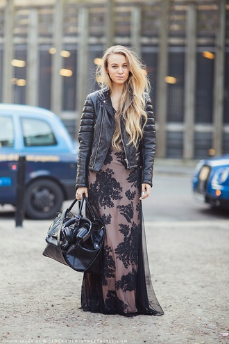 streetstyle flowers lether lether jacket black baroque dress baroque blonde hair black flowers