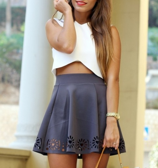 skirt grey skirt holes heart hearts white crop watch gold