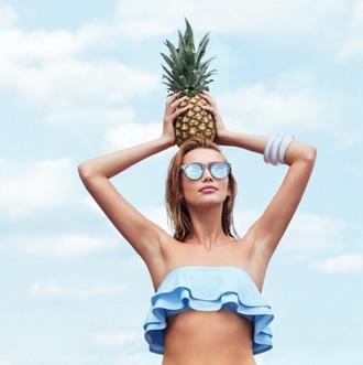 swimwear bikini bikini top pastel blue blue bikini ruffle bandeau bikini ruffle spring break pastel swimwear