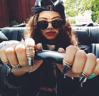 jewels bindi jewelry stone ring sunglasses choker necklace necklace cap hat snapback lipstick red eyebrows nails nose ring velcro style swag hippie red lipstick