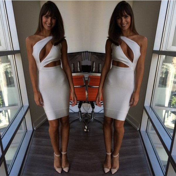 dress cut out  dress cut-out cut out white dress bandage dress bandage dress white dress white bandage dress
