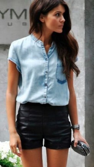 blue baby blue shirt t-shirt sky blue button jeans black pocket pocket t shirt