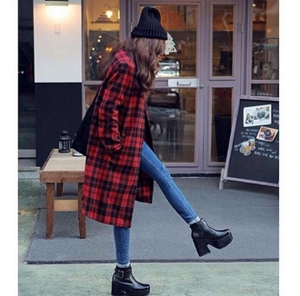 jeans ankle boots rivet platform shoes flannel shirt grunge tumblr outfits alternative jacket shoes