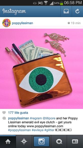 bag eye green clutch money